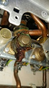 Before - leaking boiler isolation valve